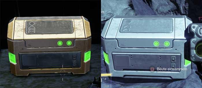 Der kleine, aber feine unterschied zwischen wertvollen Gold-Kisten (links) und Standard-Kisten (rechts). Bild: Screenshots Destiny