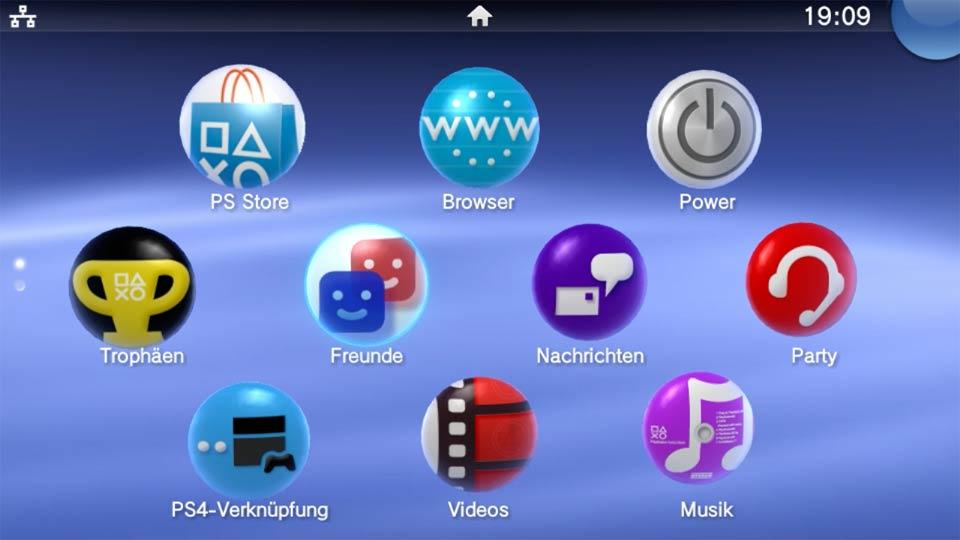 Hauptmenü von Playstation TV: nur das LAN-Symbole oben links in der Ecke untescheidet sich von der Vita. Bild: Screenshot PSTV