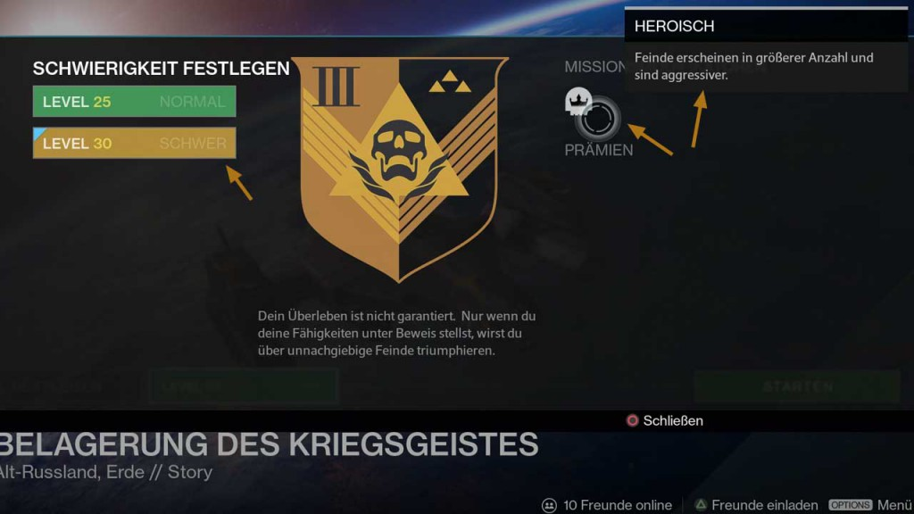 Heroisch-Modifikator in der Mission Belagerung des Kriegsgeistes, Bild: Screenshot Destiny