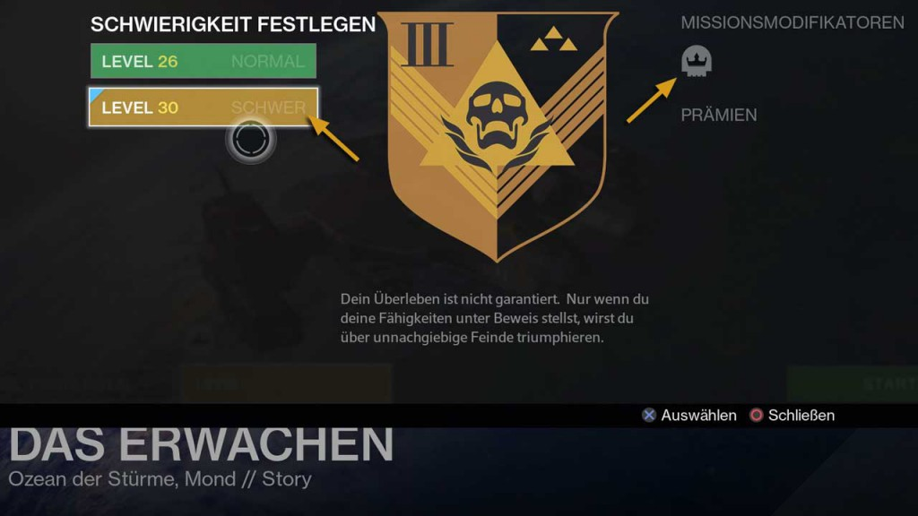 Heroisch-Modifikator in Destiny aktivieren, Bild: Screenshot Destiny