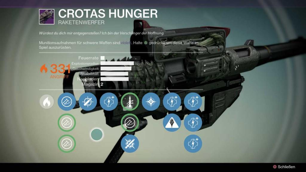 Raketenwerfer Crotas Hunger aus Destiny-Raid Crotas Ende, Bild: Screenshot Destiny