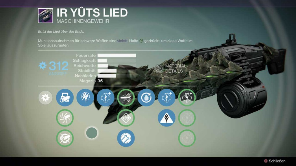 Maschinengewehr Ir Yûts Lied aus Destiny-Raid Crotas Ende, Bild: Screenshot Destiny