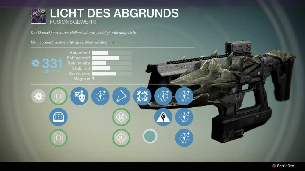 Fusionsgewehr Licht des Abgrunds aus Destiny-Raid Crotas Ende, Bild: Screenshot Destiny
