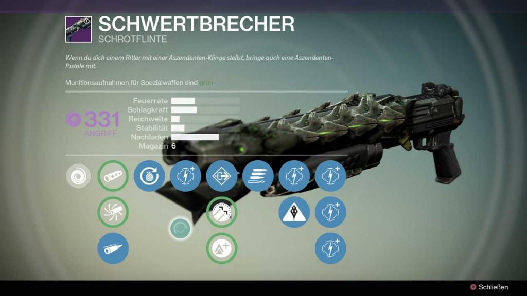 Schrotgewehr Schwertbrecher aus Destiny-Raid Crotas Ende, Bild: Screenshot Destiny