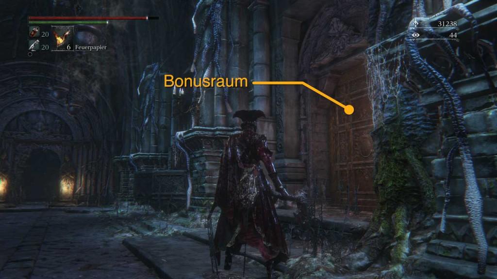 Tür zum Bonus-Raum eines Kelch-Dungeons. Hier erwarten euch Feinde, Fallen und Schätze, Bild: Screenshot Bloodborne