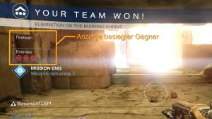 Die Schädel zeigen an, wieviele Spieler auf beiden Seiten ausgeschaltet sind. Das Team, das drei Feinde erledigt, gewinnt. Bild: Bungie via Twitch
