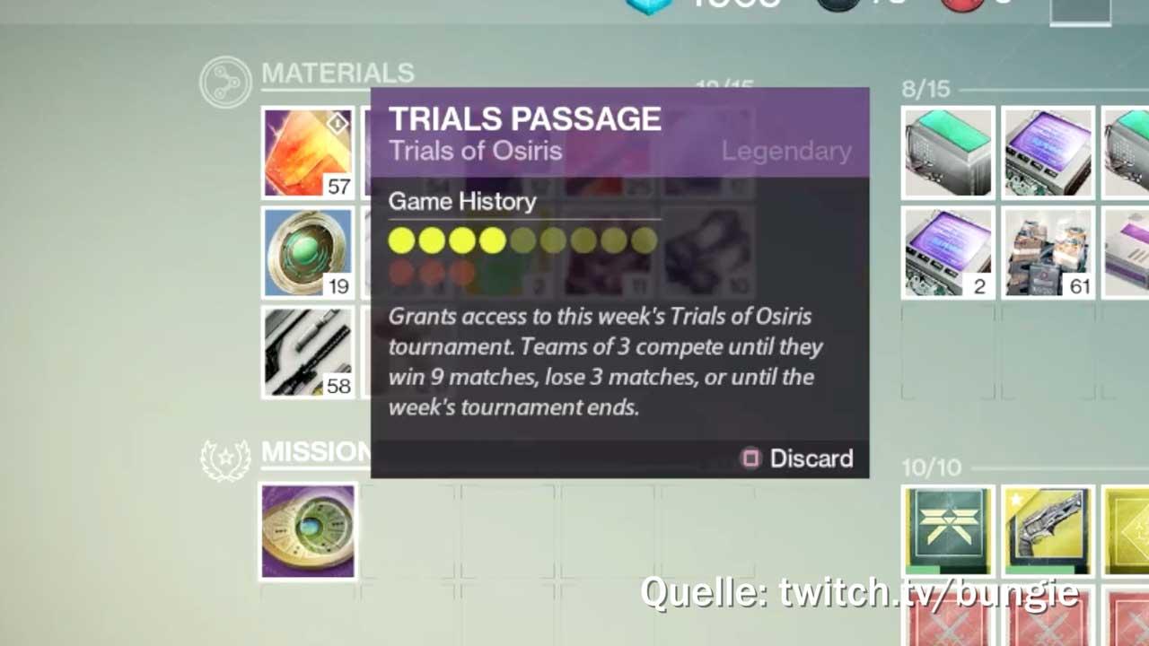Ohne Trials Passage keine Teilnahme bei den Prüfungen von Osiris, Bild: Bungie via Twitch