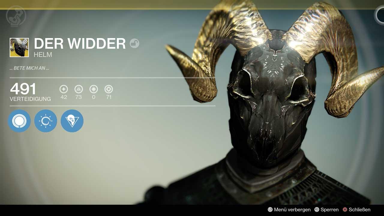Exotischer Helm Der Widder, Bild: Screenshot Destiny
