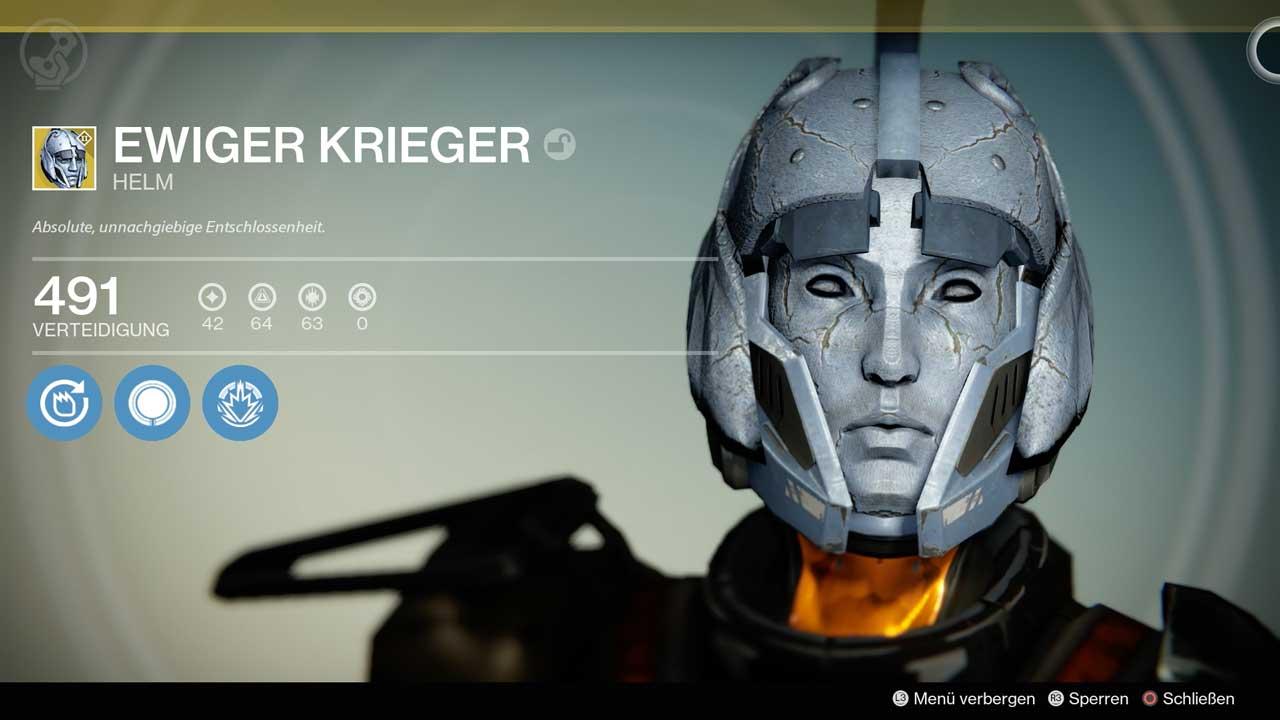 Exotischer Helm Ewiger Krieger, Bild: Screenshot Destiny