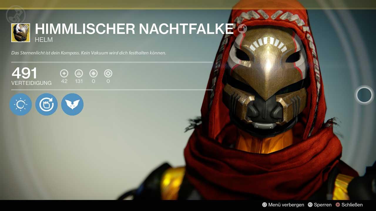Exotischer Helm Himmlischer Nachtfalke, Bild: Screenshot Destiny