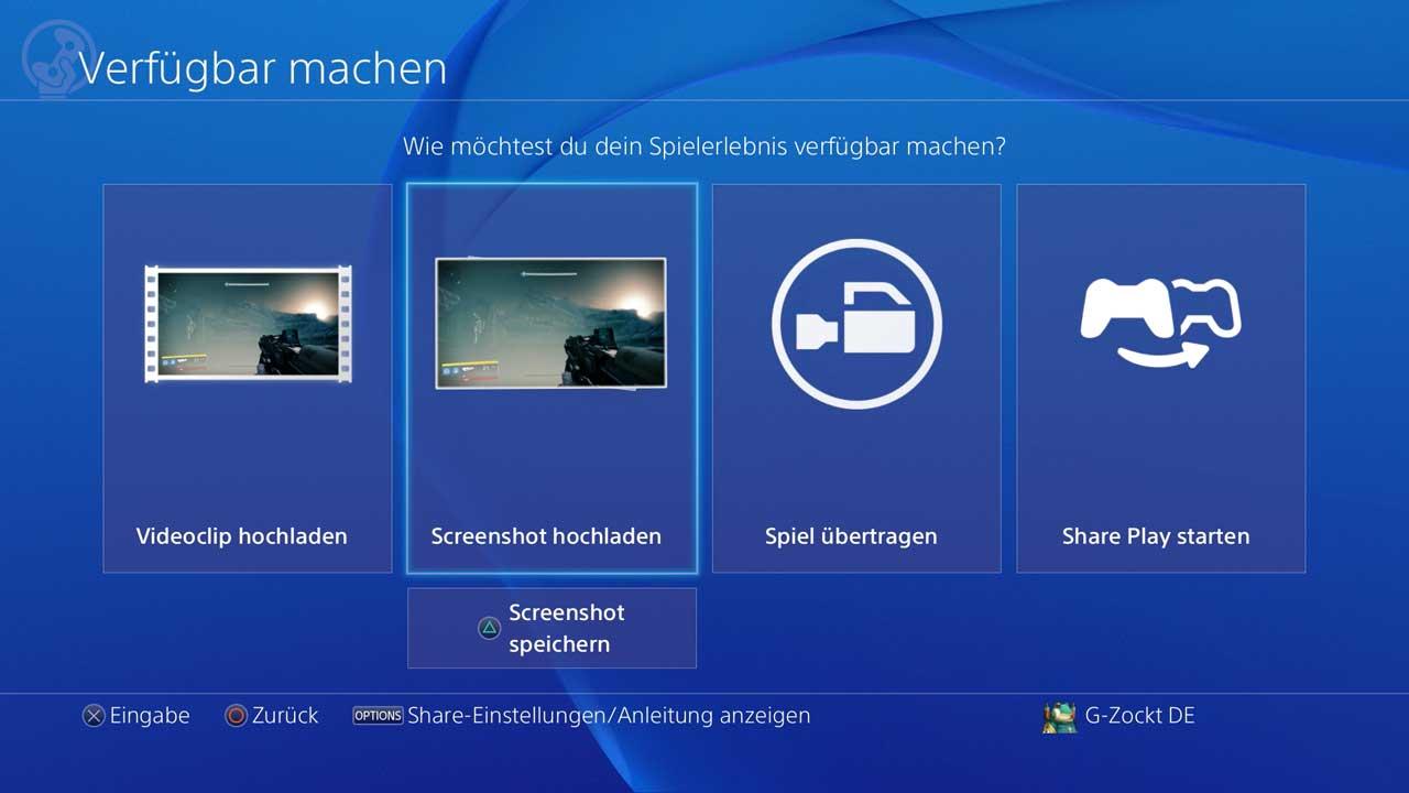 Screenshot mit der PS4 erstellen, Bild: Screenshot