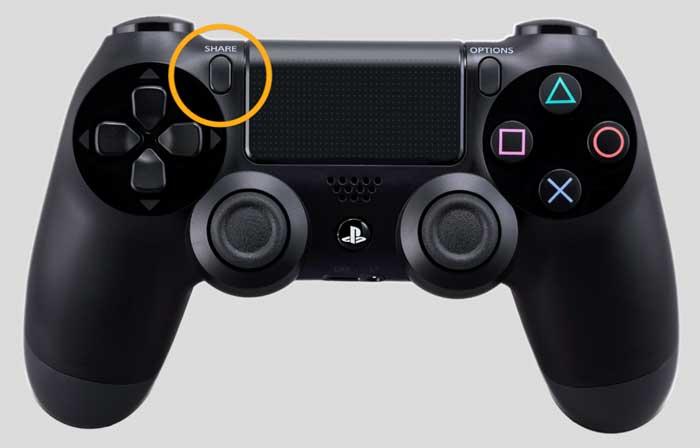 PS4 - Share-Menü über den Share-Knopf öffnen, Bild: mit Material von Sony