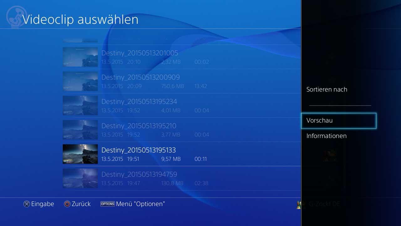 Vorschau gespeicherter Videos direkt im laufenden Spiel auf der PS4, Bild: Screenshot