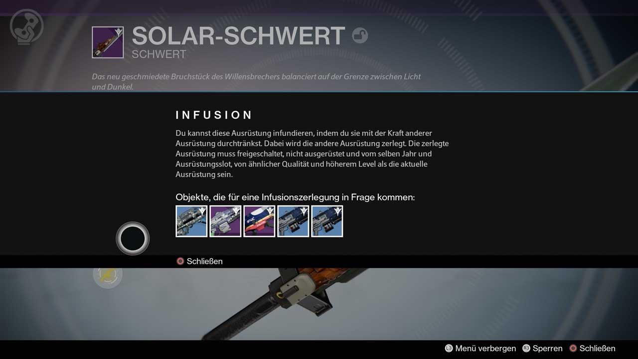 Per Infusion Waffen und Rüstungen stärker machen, Bild: Screenshot Destiny