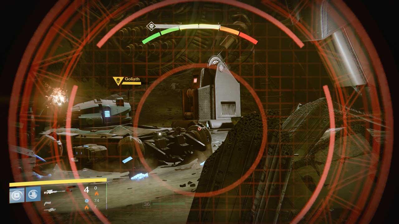 Beim Bosskampf gegen Panzer Goliath sind die Radkästen die Schwachstelle, Bild: Screenshot Destiny