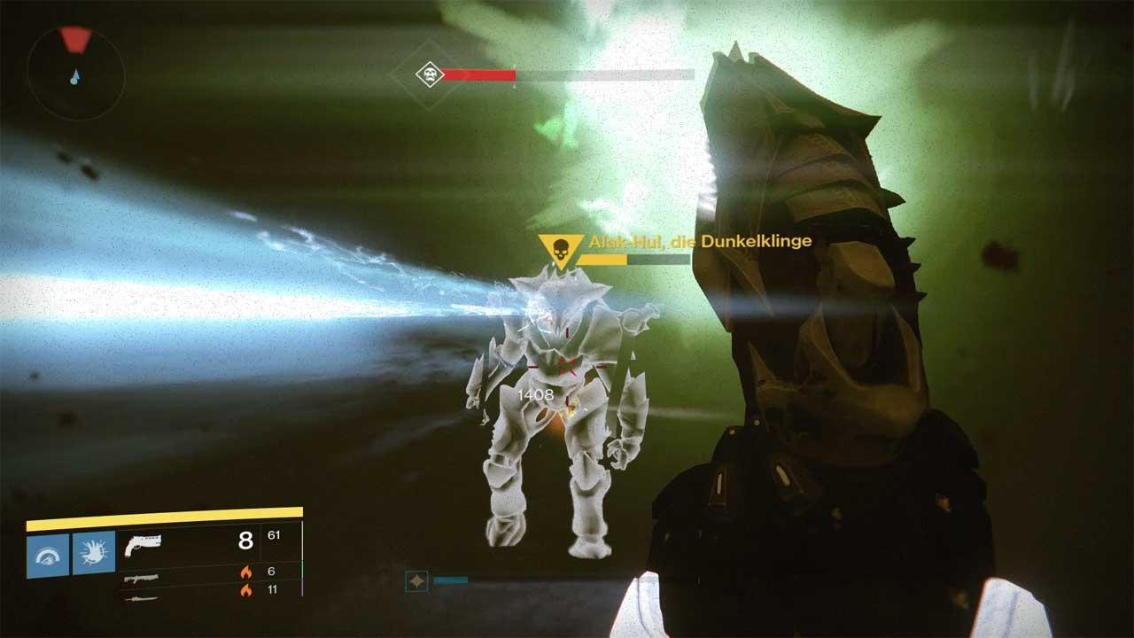 Alak-Hul müsst ihr euch zurechtlegen und schwächen, ehe ihr den Ritter für euer Schwert vermöbelt und dem Boss den Rest gebt. Bild: Screenshot Destiny