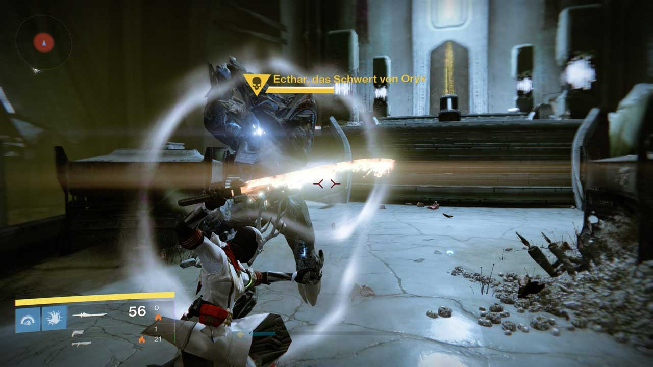 Ecthar ist durch ein Schild geschützt, das ihr nur mit eurem Schwert aufheben könnt. Bild: Screenshot Destiny