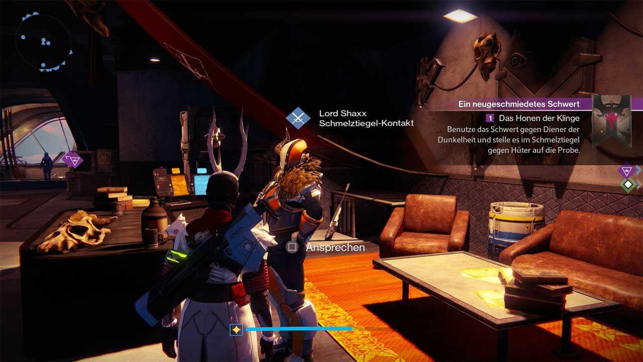 Lord Shaxx ist euer Ansprechpartner für die Mission rund um das exotische Schwert. Bild: Screenshot Destiny.