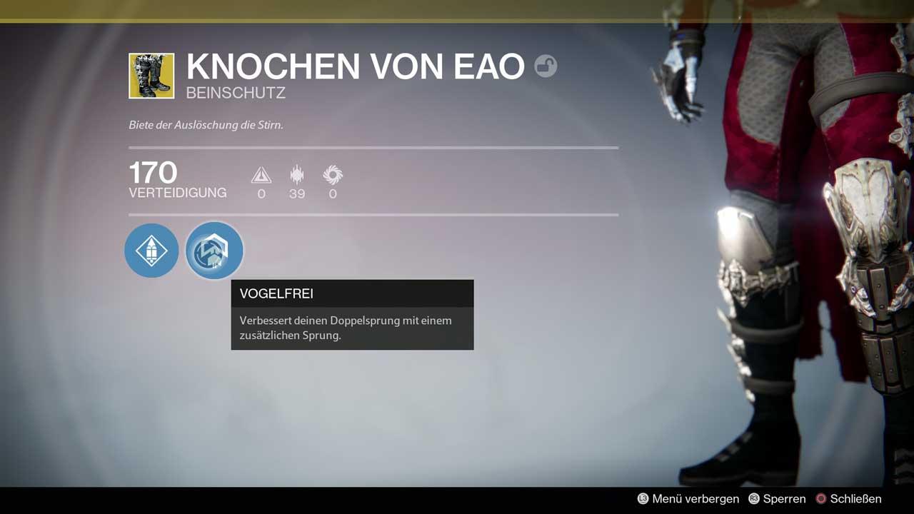 Jäger-Segen bei den anspruchsvollen Sprüngen des Raids: Knochen von EAO, hier in der alten Jahr-1-Edition. Bild: Screenshot Destiny