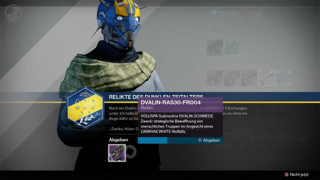 DVALIN-Relikte beim Waffenmeister abgeben, Bild: Screenshot Destiny