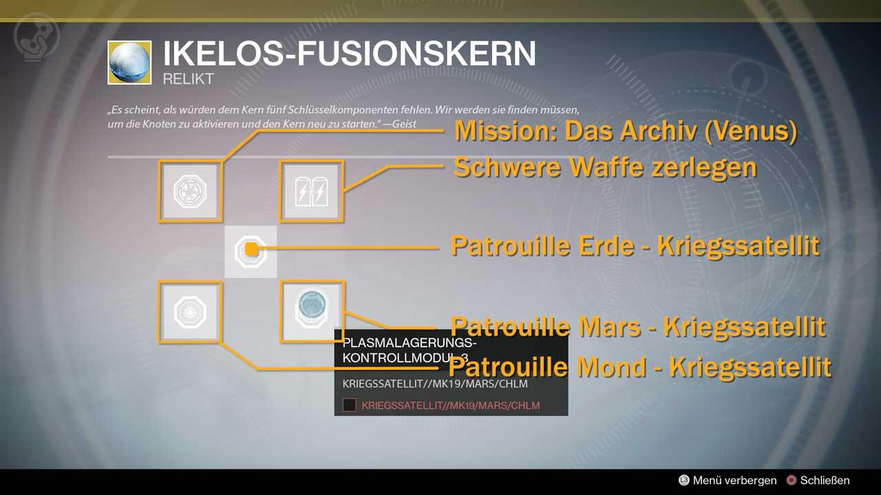 Ikelos-Fusionskern für das exotische Gewehr Schläfer-Simulant reparieren, Bild: Screenshot Destiny