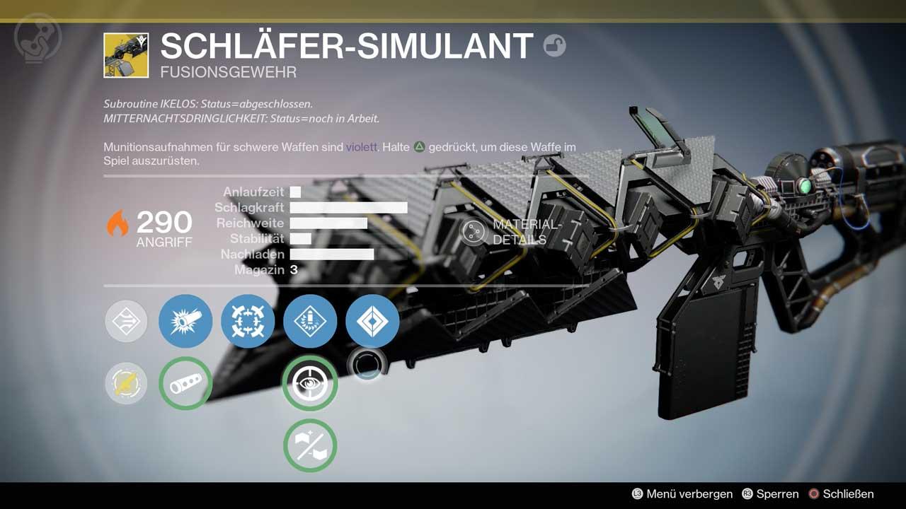Werte und Perks des exotischen Fusionsgewehrs Schläfer-Simulant, Bild: Screenshot Destiny