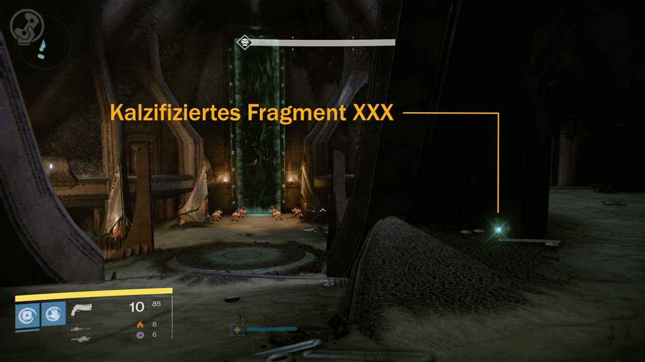 Kalzifiziertes Fragment XXX in der Basilika von Raid Königsfall einsammeln, Bild: Screenshot Destiny
