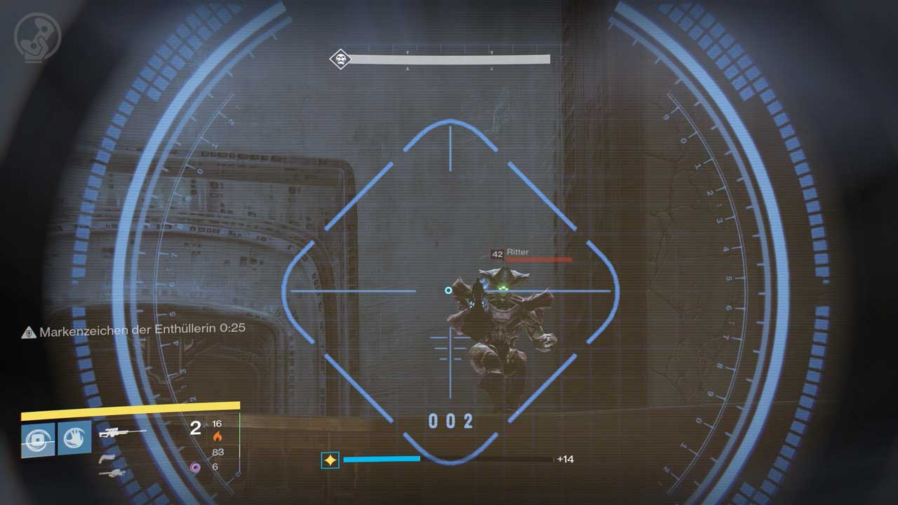 Auf den Balkonen bei den äußeren Plattformen erscheinen in regelmäßigen Abständen Raketen-Ritter. Bild: Screenshot Destiny