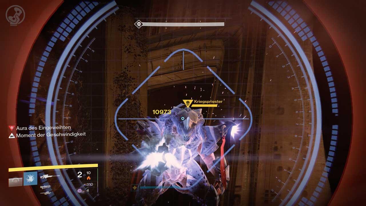 Der Kriegspriester hat in der schweren Raid-Variante ein paar gefährliche Angriffe dazu gelernt. Bild: Screenshot Destiny