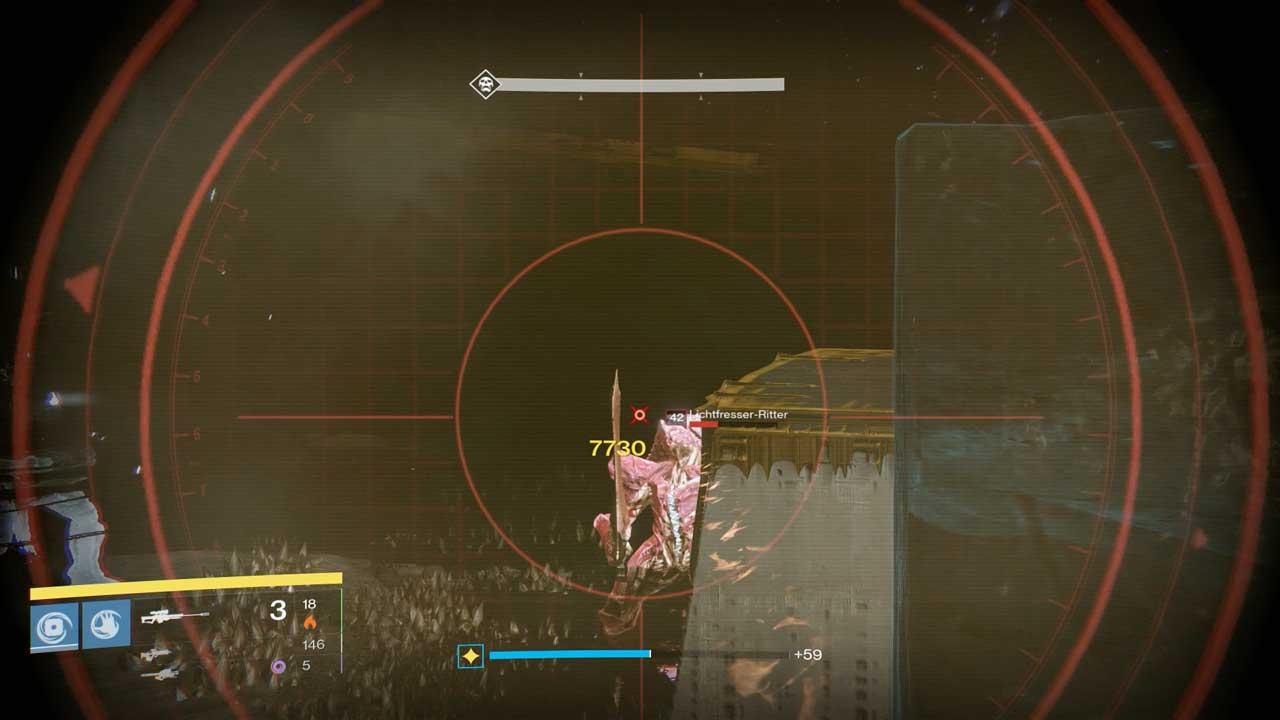 Vier Lichtfresser-Ritter erscheinen neben den Plattformen, sobald die Oger erledigt sind. Werden sie nicht gestoppt, deaktivieren sie die Bomben. Bild: Screenshot Destiny