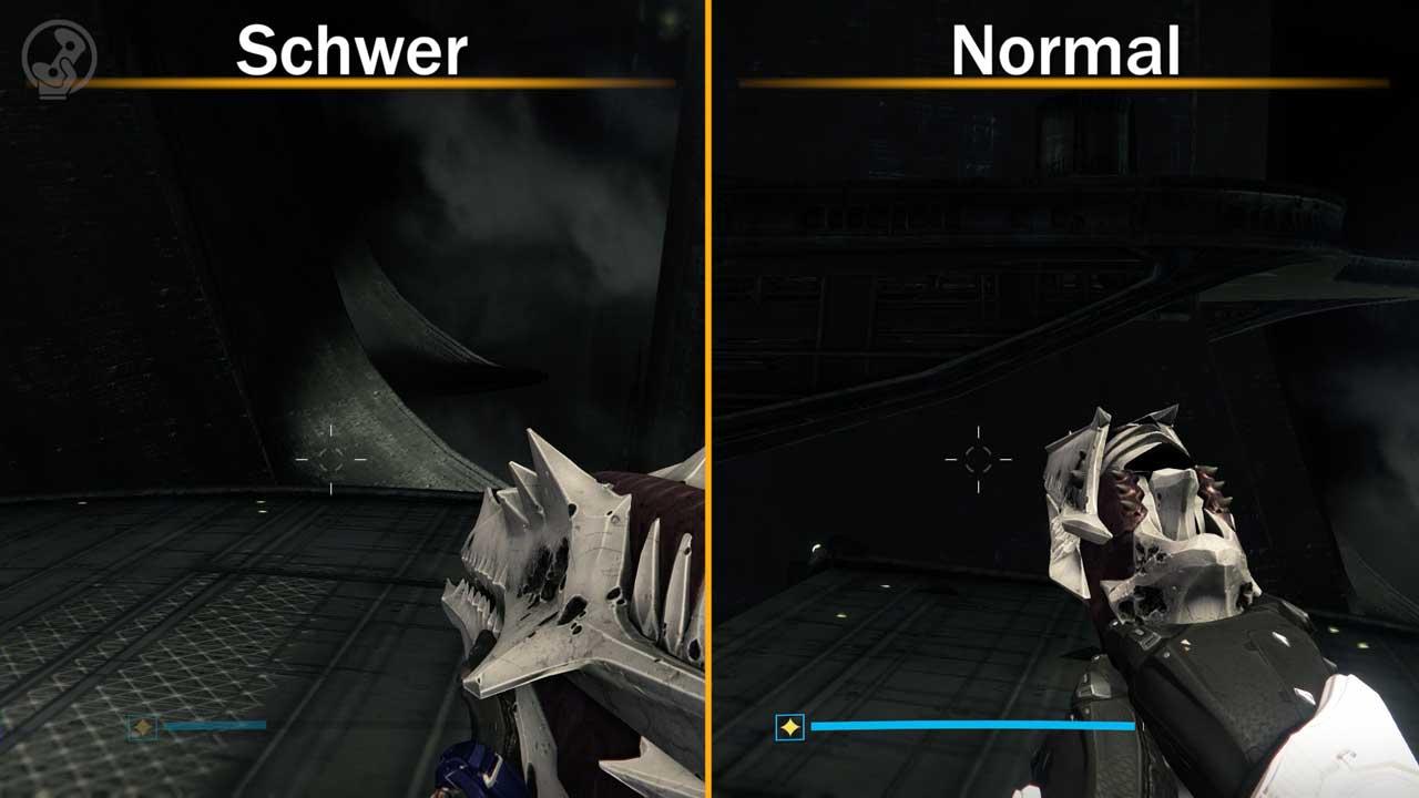 Im schweren Raid (links) fehlt die Plattform auf halbem Weg des ersten Sprung-Rätsels. Bild: Screenshots Destiny