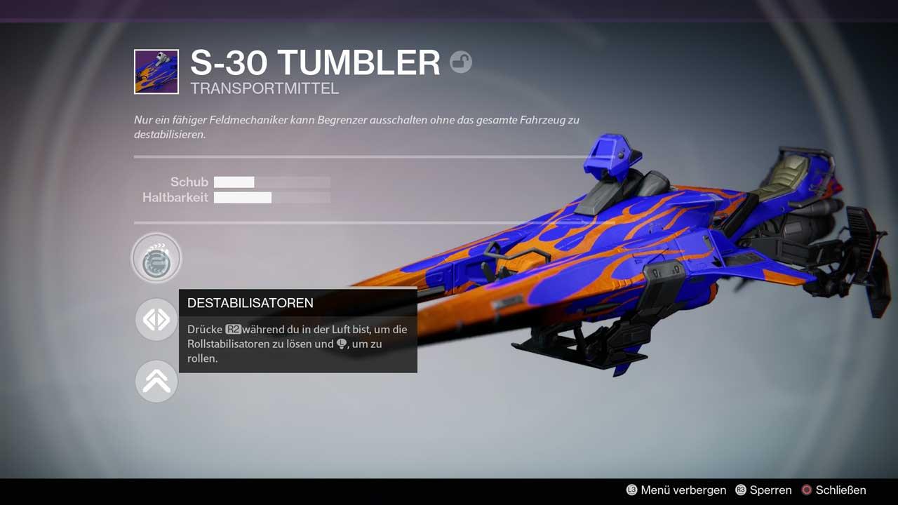 S-30 Tumbler ist ein guter Sparrow für die ersten Rennen. Bild: Screenshot Destiny