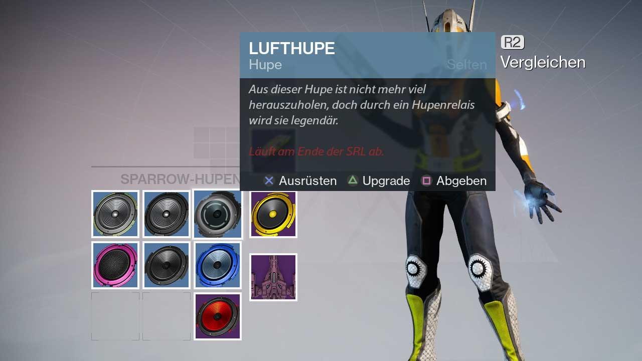 Ihr könnt in SRL-Rennen Hupen sammeln. Um sie dauerhaft einzusetzen, müsst ihr allerdings echtes Geld ausgeben. Bild: Screenshot Destiny