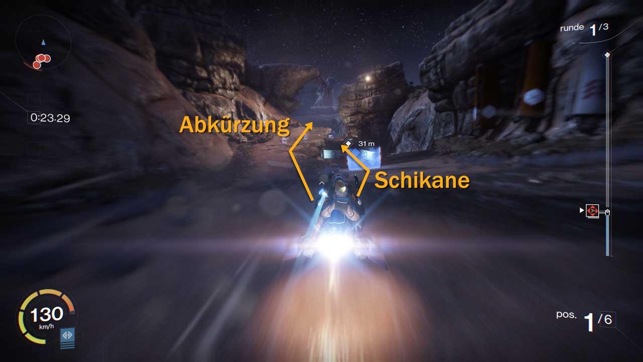 Abkürzung im Destiny-Rennen auf Campus Martius, Bild: Screenshot Destiny