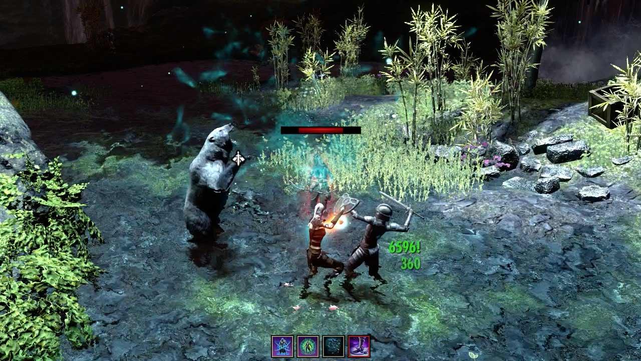 Richtet sich der Bär (hier mit Skin schiefergrau) zum Angriff auf, kann er Gegner niederschlagen. Bild: Screenshot ESO