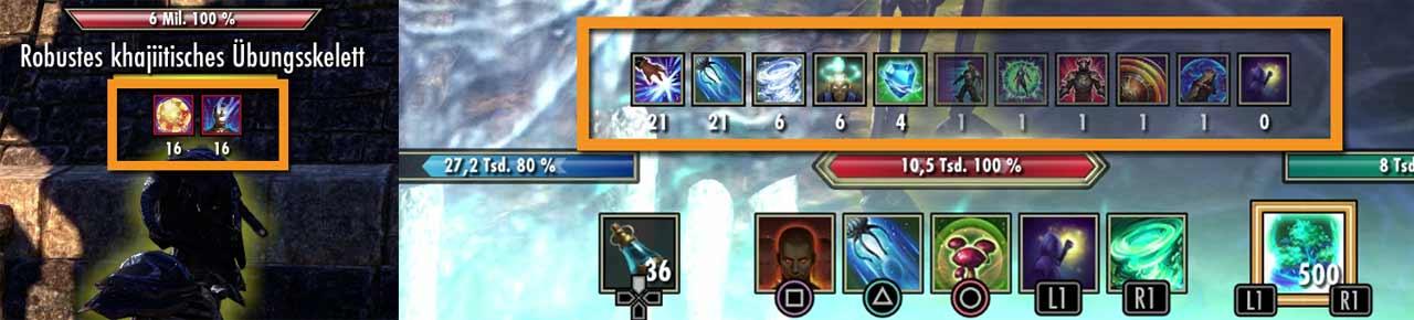 LInks: Effekte, die auf eure Gegner wirken, erscheinen oben. Rechts: Effekte, die auf euch selbst wirken, erscheinen unten oberhalb eurer Skill-Leiste. Bilder: Screenshots ESO