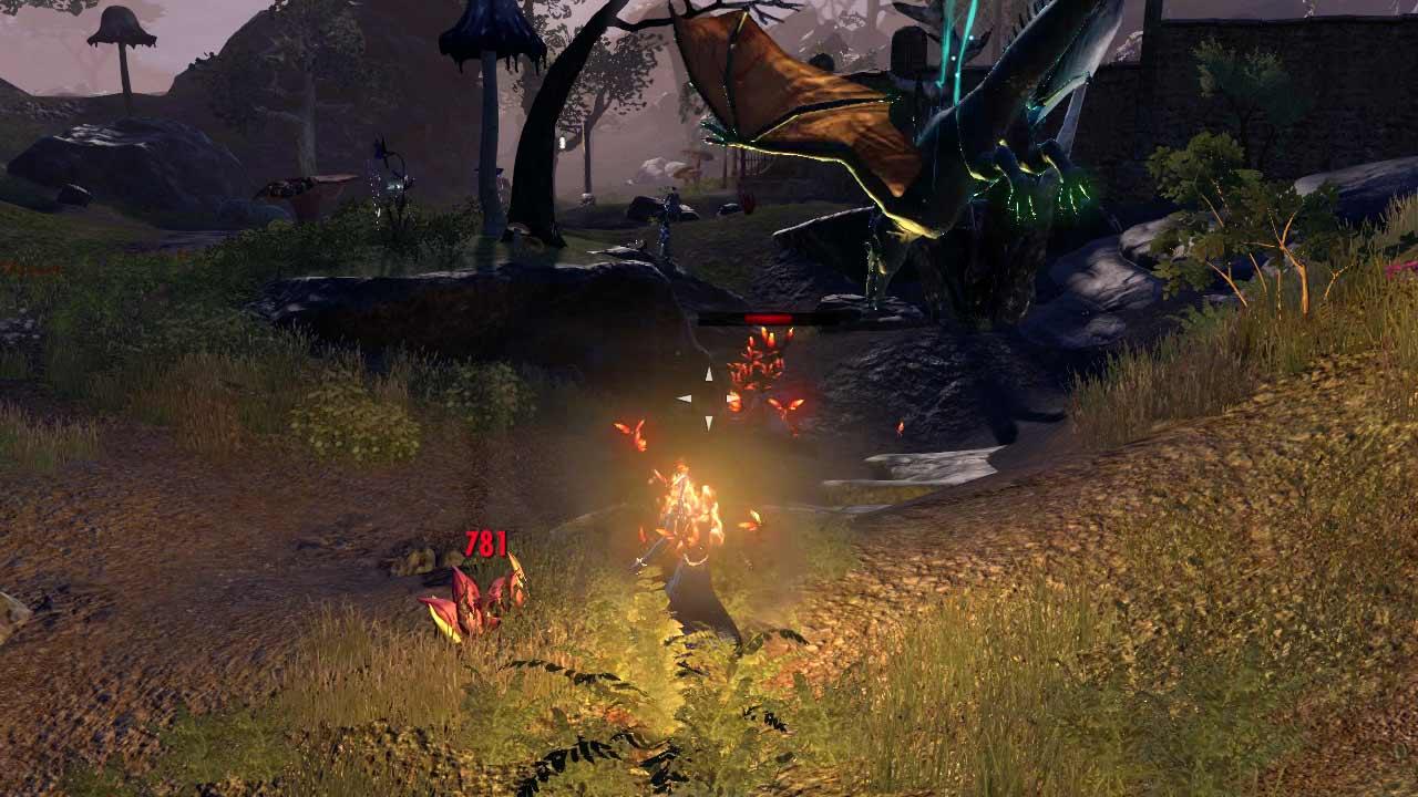Der Klippenläufer stürzt aus einem Portal oberhalb des Spielers auf den Feind herab. Bild: Screenshot ESO