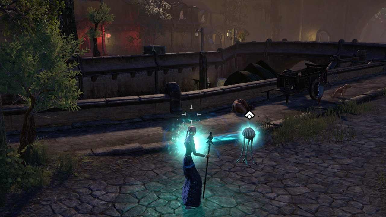 Die aktivierte Netchkuh verbindet sich über einen Strahl mit ihrem Besitzer und füllt dessen Ressourcen auf. Bild: Screenshot ESO