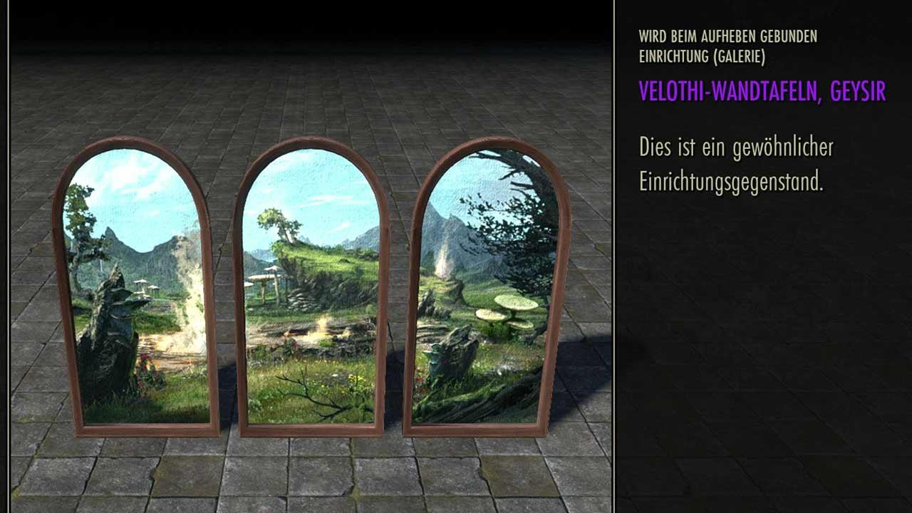 Dreigeteilte Wandtafeln im Velothi-Stil, Bild: Screenshot aus dem Kronen-Shop von ESO