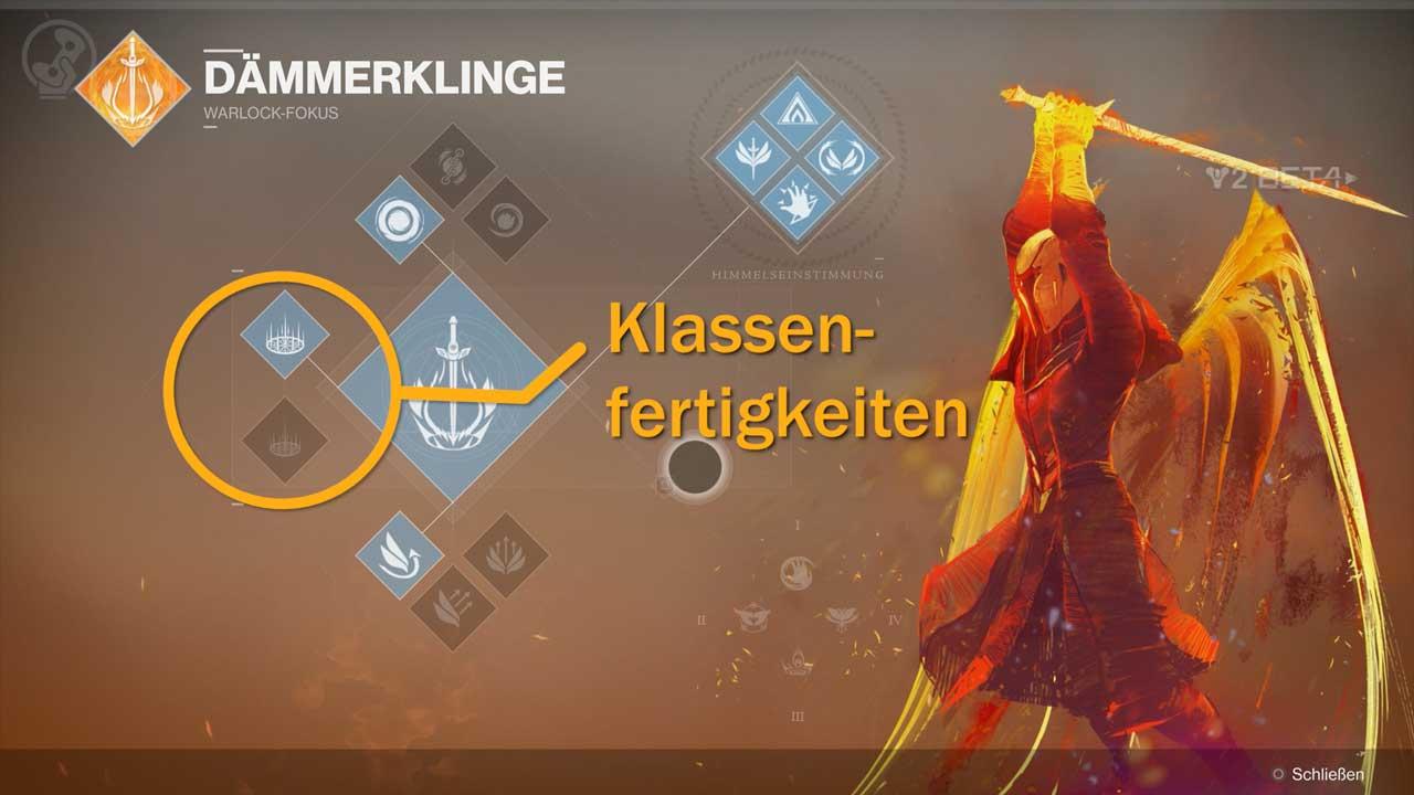 Neu: Klassenfertigkeiten mit eigenem Cooldown. Die Fokus-Passiva sind nun aufgeräumter, bieten aber auch weniger Wahlmöglichkeiten. Bild: Screenshot Destiny 2 Beta