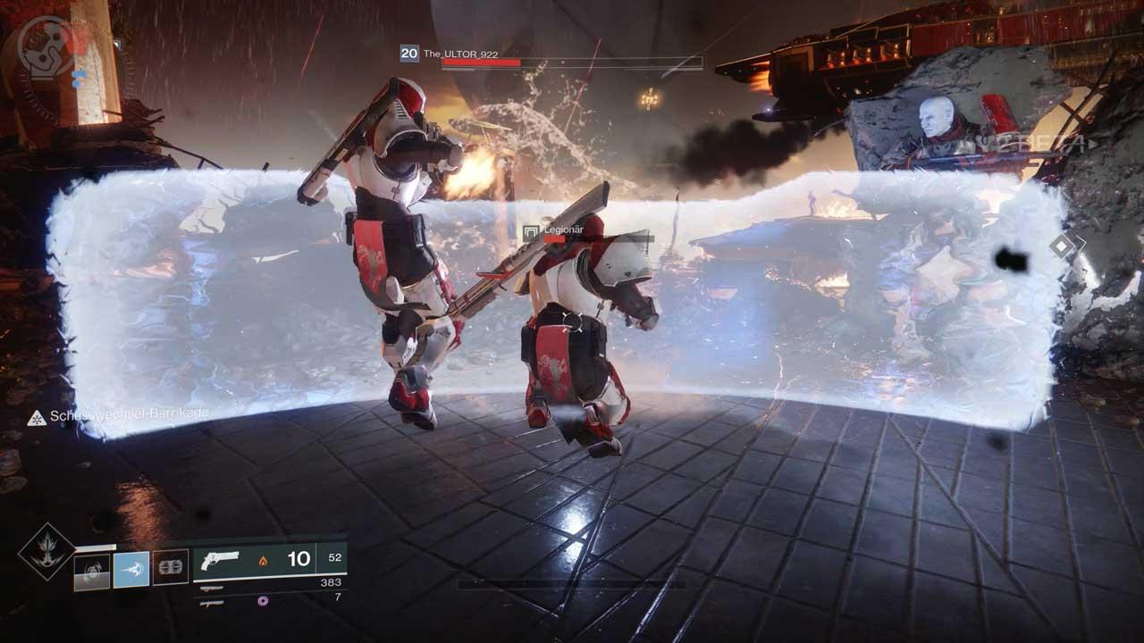 Die Schusswechsel-Barrikade schützt nicht nur, sondern ermöglicht auch Dauerfeuer, ohne nachladen zu müssen. Bild: Screenshot Destiny 2 Beta